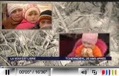 Vue d'écran du premier reportage sur les 25 ans de la catastrophe de Tchernobyl