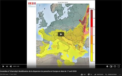 Lien vers la vidéo de la modélisation par l'IRSN des nuages en provenance des incendies de la région de Tchernobyl
