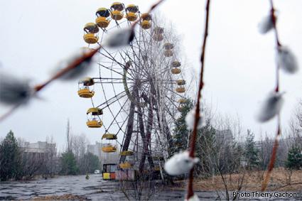 Photo de la grande roue abandonnée de Pripyat.