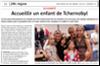 Miniature de l'article de l'Alsace du 30 décembre 2015 : Accueillir un enfant de Tcernobyl