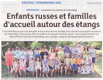 Miniature de l'article de presse des DNA du 15 août 2015 : Enfants russe et familles d'accueil autour des étangs