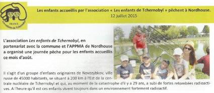 Miniature de l'article du bulletin communale de Nordhouse : Les enfants accueillis par l'association Les Enfants de Tchernobyl pêchent à Nordhouse