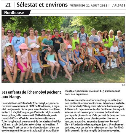 Miniature de l'article de L'Alsace du 21 août 2015 : Les enfants de Tchernobyl pêchent aux étangs