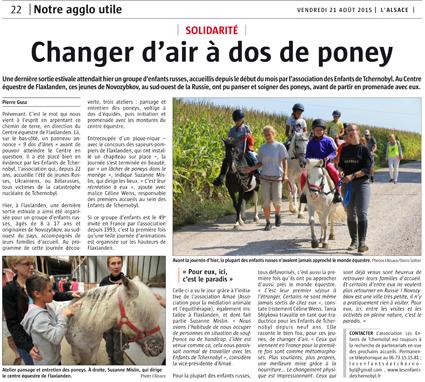 Miniature de l'article de L'Alsace du 21 août 2015 : Changer d'air à dos de poney