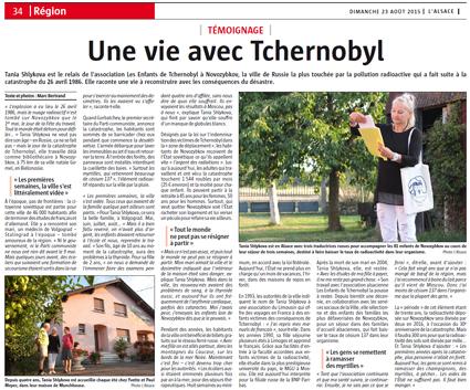 Miniature de l'article de l'Alsace, page Région, du 23 août 2015 : Une vie avec tchernobyl
