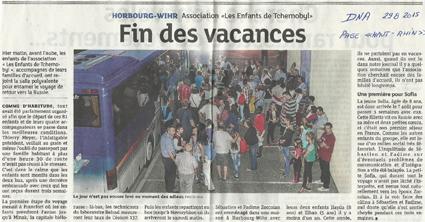 Miniature de l'article des DNA, page Haut-Rhin, du 29 août 2015 : Fin des vacances