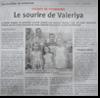 Miniature de l'article de l'Alsace du 18 Juillet 2015 : Le sourire de Valeriya