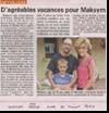 Miniature de l'article de Vosges Matin du 20 Juillet 2015 : D'agr�ables vacances pour Maksim
