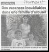 Miniature de l'article de Vosges Matin du 24 Juillet 2015 : Des vacances inoubliables dans une famille d'accueil