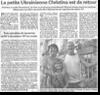 Miniature de l'article de Vosges Matin du 25 Juillet 2015 : La petite ukrainienne Christina est de retour