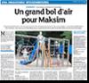 Article de presse des DNA du 28 juillet 2015 : Un grand bol d'air pour Maksim
