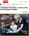 Lien vers l'article de presse de Vosges Matin du 30 août 2019 : « Enfants de Tchernobyl » : Sofia se refait une santé dans les Vosges