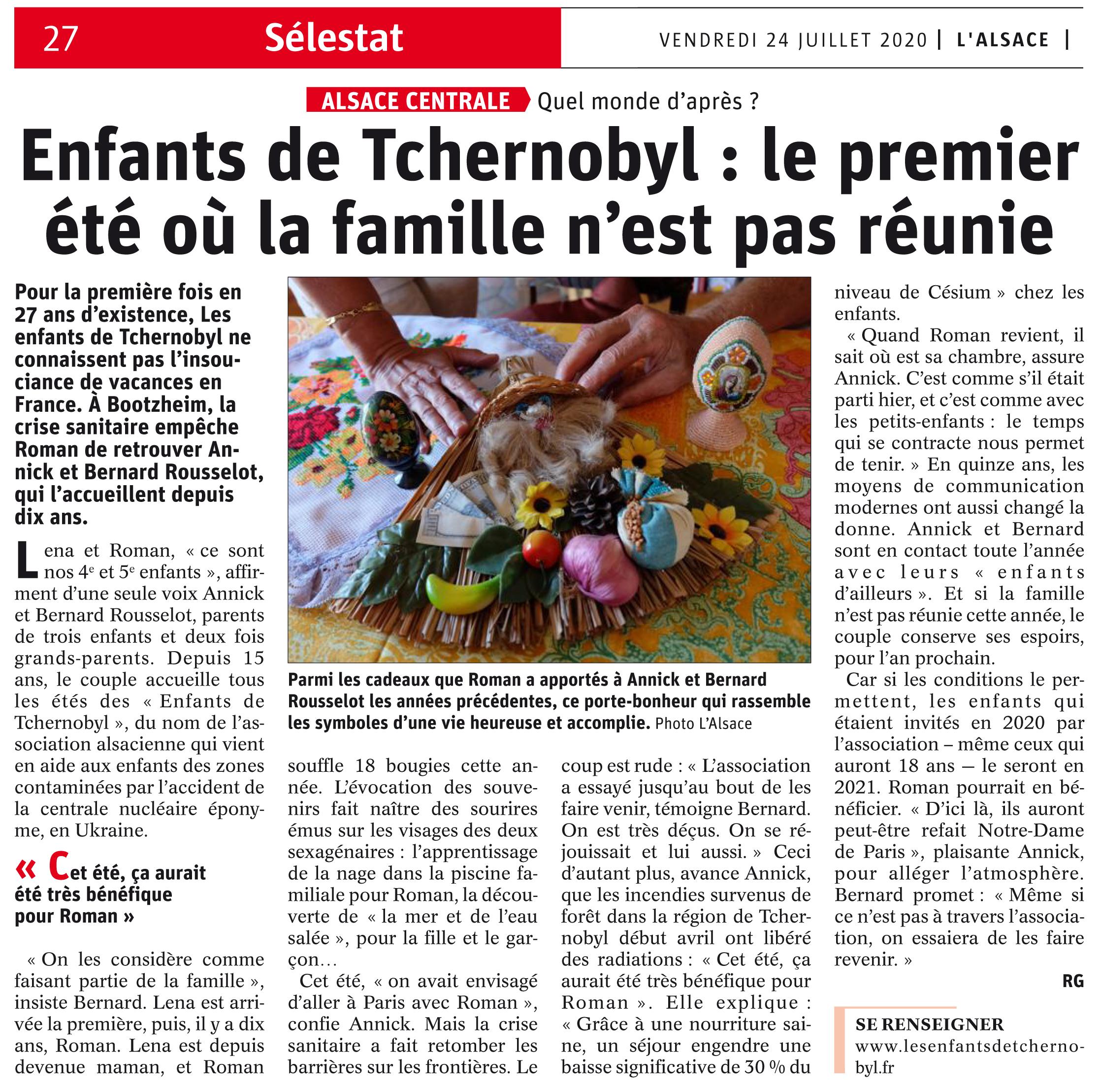 Lien vers l'article de l'Alsace du 24 juillet 2020 : Le premier été où la famille n'est pas réunie
